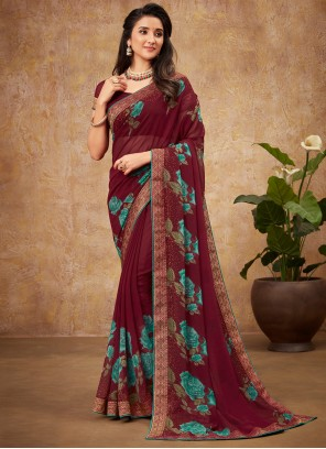 Maroon Casual Faux Georgette Saree