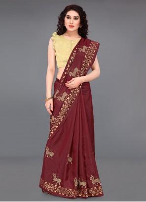 Maroon Casual Silk Saree