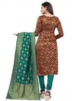 Maroon Ceremonial Banarasi Silk Churidar Suit