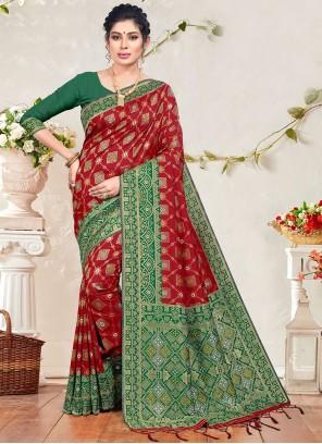 Maroon Ceremonial Banarasi Silk Designer Traditional Saree