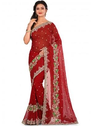 Maroon Ceremonial Designer Saree