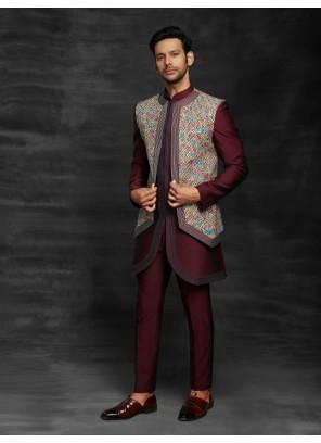 Maroon Ceremonial Fancy Fabric Indo Western