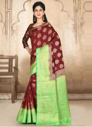 Maroon Ceremonial Kanjivaram Silk Designer Traditional Saree