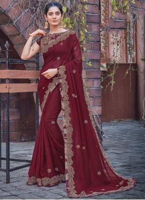 Maroon Ceremonial Silk Designer Saree