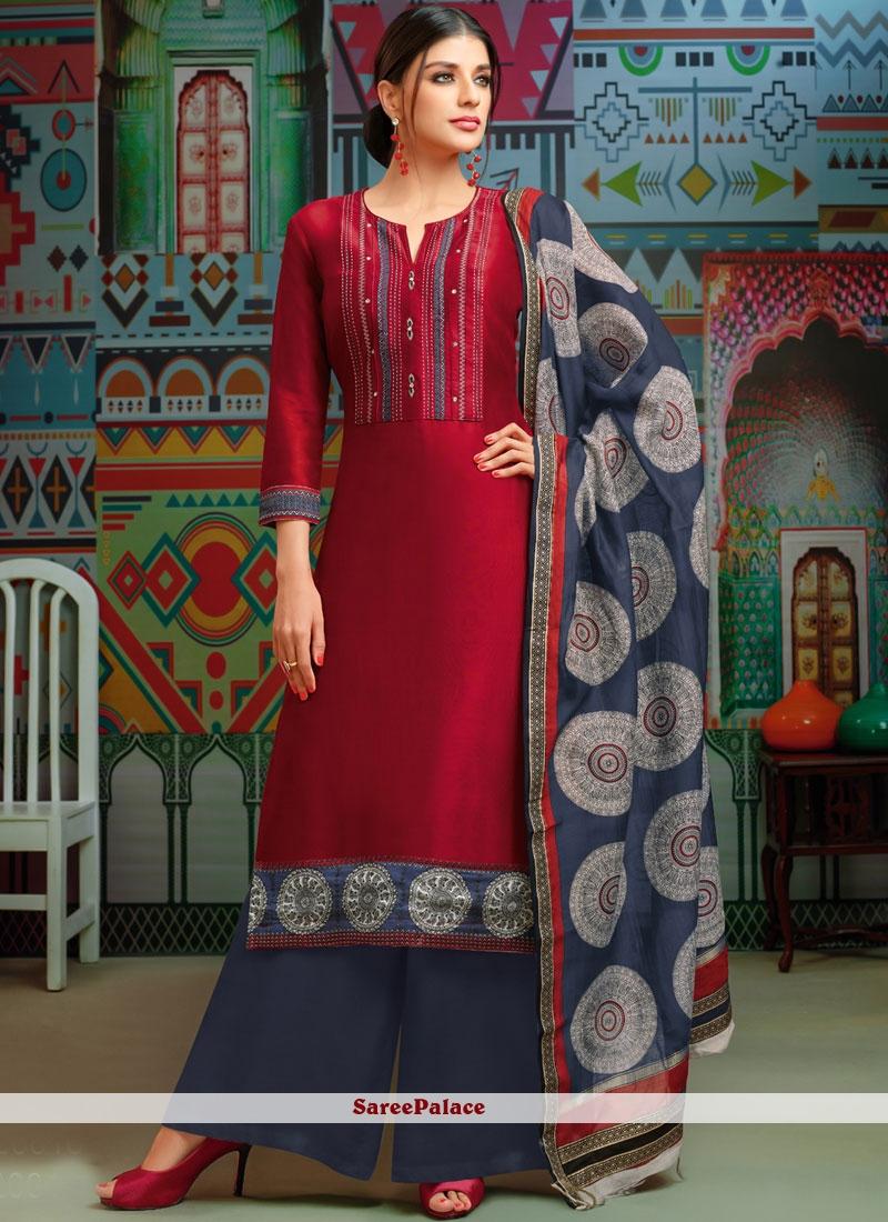 Maroon Chanderi Cotton Print Designer Palazzo Suit