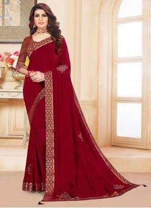 Maroon Vichitra silk Classic Saree