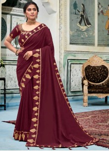 Maroon Color Border Work Silk Classic Saree