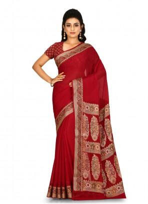 Maroon Color Contemporary Saree