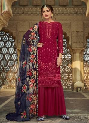 Maroon Color Designer Palazzo Suit