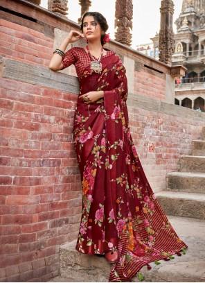 Maroon Color Printed Saree