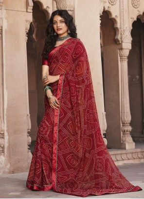 Maroon Color Faux Georgette Abstract Print Saree