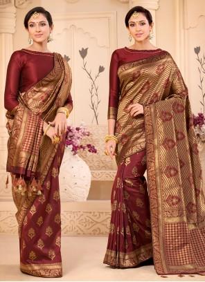 Maroon Color Traditional Saree