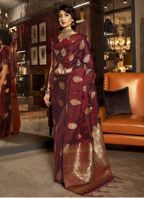Maroon Color Trendy Saree