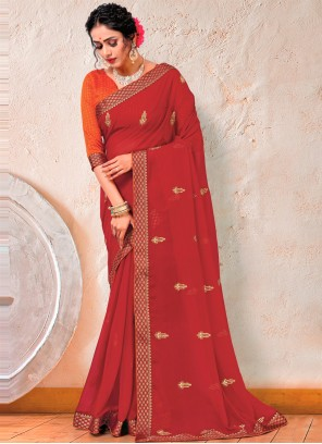 Maroon Color Embroidered Trendy Saree