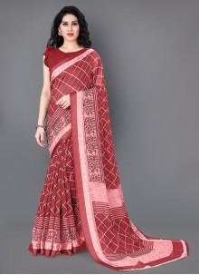 Maroon Cotton Casual Traditional Saree