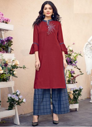 Maroon Cotton Embroidered Party Wear Kurti