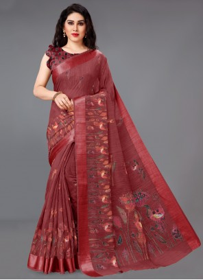 Maroon Cotton Printed Saree