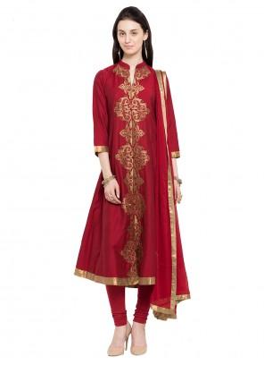 Maroon Cotton Readymade Anarkali Salwar Suit