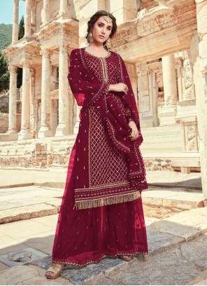 Maroon Designer Pakistani Salwar Suit