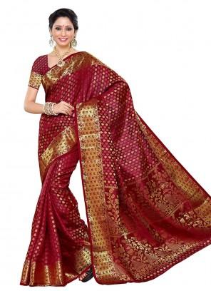 Maroon Designer Traditional Saree