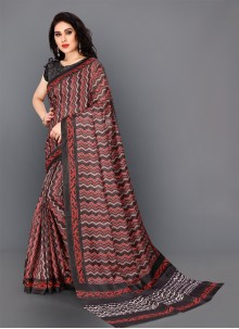 Maroon Digital Print Contemporary Saree