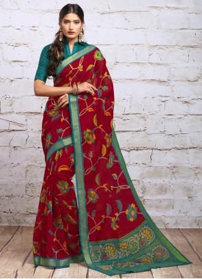 Maroon Digital Print Silk Classic Saree