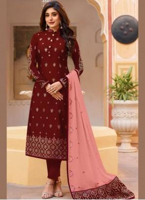 Maroon Dori Work Silk Churidar Salwar Kameez