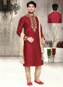 Maroon Dupion Silk Thread Work Work Kurta Pyjama