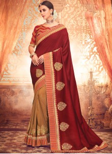 Maroon Embroidered Art Silk Classic Saree