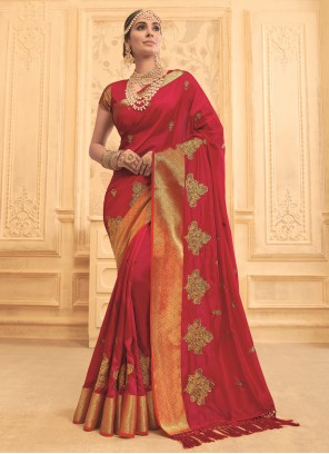 Maroon Embroidered Art Silk Designer Traditional Saree