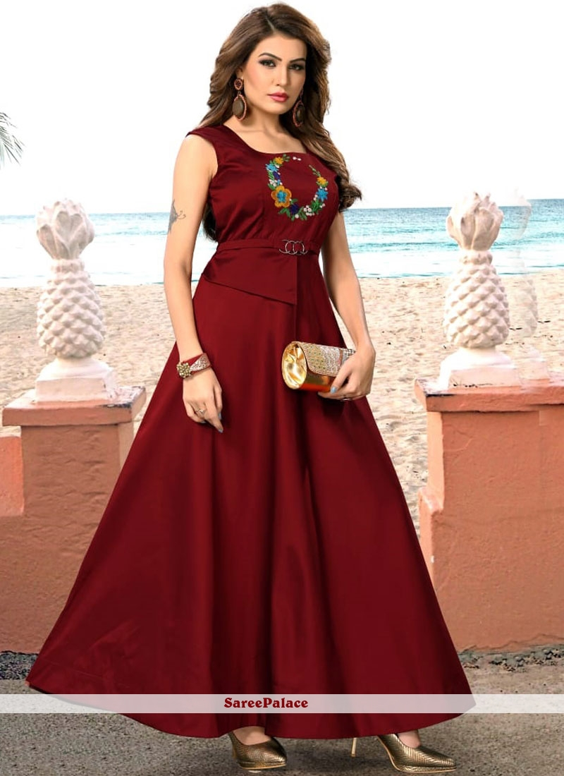e8933a5c26 Buy Maroon Embroidered Art Silk Readymade Gown Online