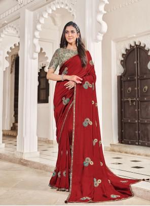 Maroon Embroidered Art Silk Traditional Designer Saree