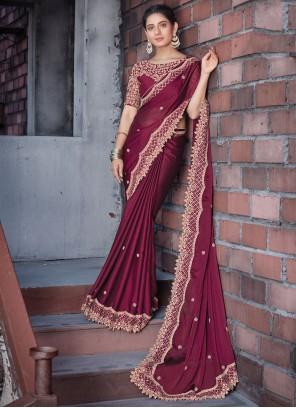 Maroon Embroidered Designer Saree