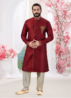 Maroon Embroidered Jacquard Indo Western