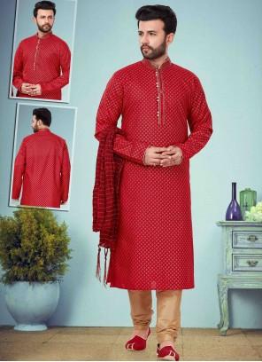 Maroon Embroidered Mehndi Kurta Pyjama