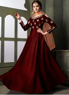 Maroon Embroidered Party Designer Gown