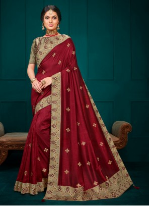 Maroon Embroidered Poly Silk Contemporary Saree