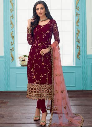 Maroon Embroidered Trendy Churidar Suit