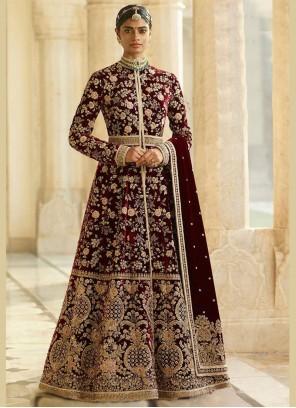 Maroon Embroidered Wedding Desinger Anarkali Suit