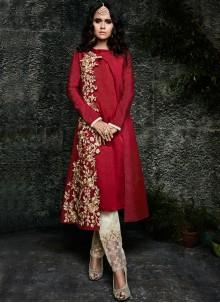 Maroon Embroidered Work Art Silk Designer Suit