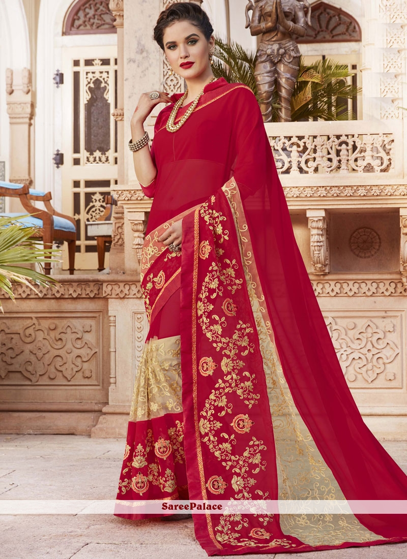 41d4b055f7 Buy Maroon Embroidered Work Georgette Bollywood Saree Online