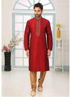 Maroon Engagement Art Banarasi Silk Kurta Pyjama