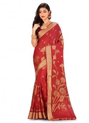 Maroon Engagement Banarasi Silk Classic Saree