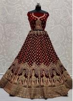 Maroon Engagement Velvet Lehenga Choli