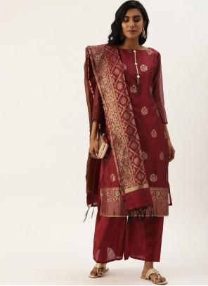 Maroon Fancy Maroon Designer Pakistani Suit