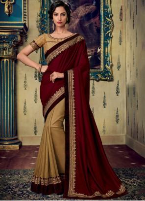 Maroon Fancy Fabric Sangeet Designer Saree