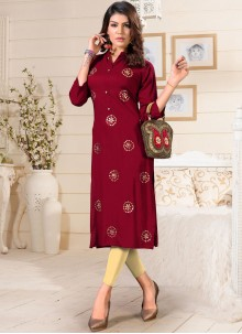 Maroon Fancy Rayon Party Wear Kurti