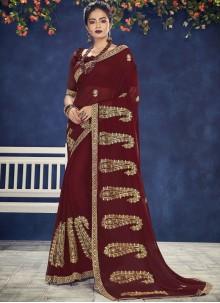 Maroon Faux Chiffon Embroidered Designer Saree