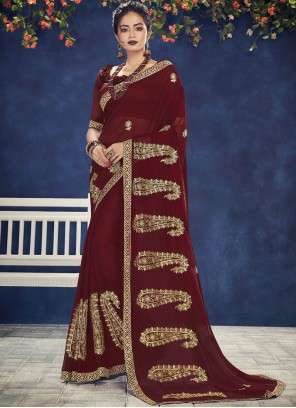 Maroon Faux Chiffon Embroidered Designer Saree