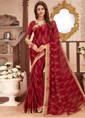 Maroon Faux Georgette Abstract Print Festival Printed Saree
